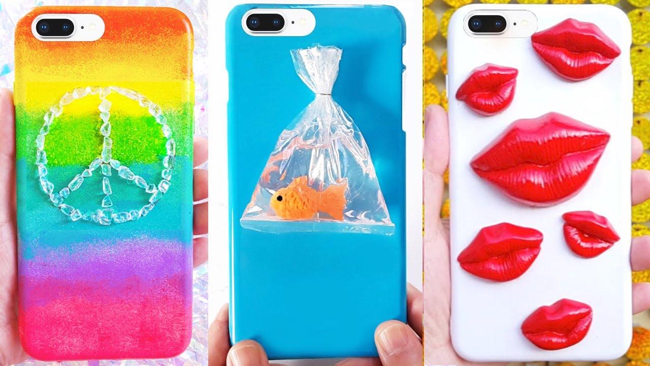 10 DIY PHONE CASES | Customizing Phone Cases (Lips, Goldfish, Rainbow)