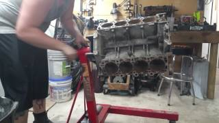 Homemade geared engine stand.