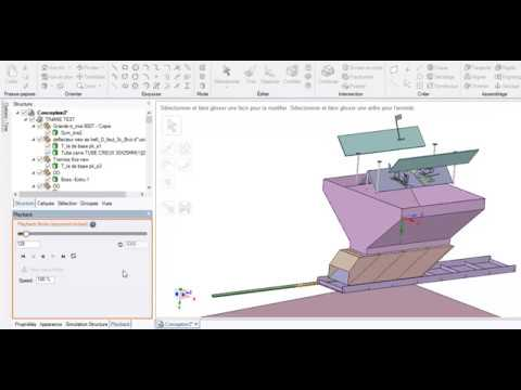 metal sheet parts falling into a hopper simulation