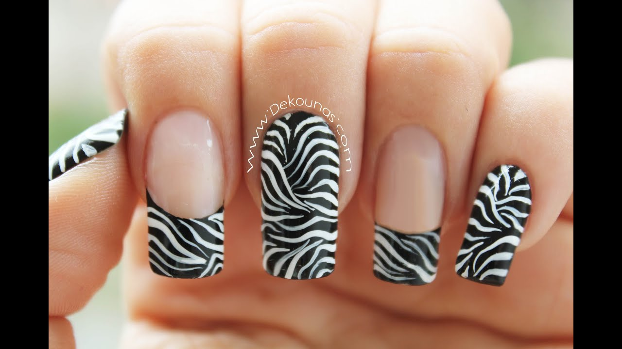Decoración de uñas animal print zebra - Animal print zebra nail art ...