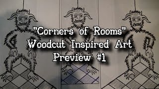 """""""Corners of Rooms"""" Woodcut Inspired Art Illustration Drawing Preview #1 John Razimus Occult Unmasked"""