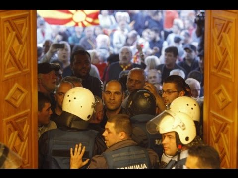 Protesters storm into Macedonia parliament and attack politicians