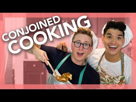 Messy Conjoined Cooking Challenge (ft. Alex Wassabi) | Tyler Oakley