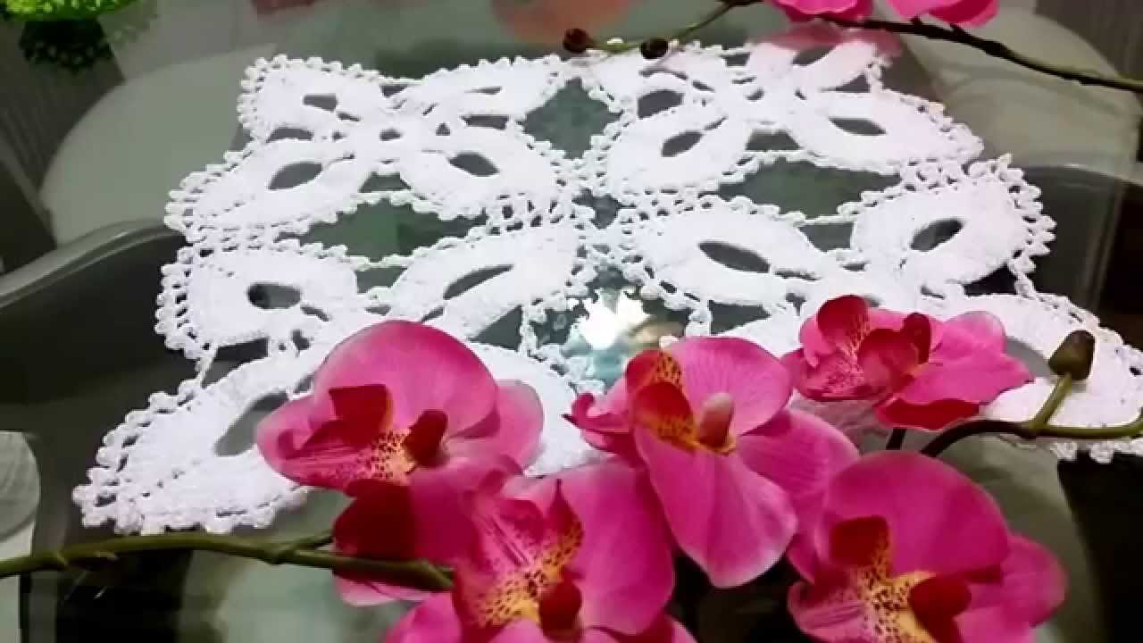 Flor de 4 p talos para mantel camino de mesa youtube for Manteles mesas grandes