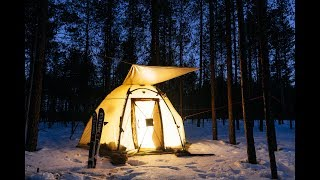 2 DAYS ONE IN THE FOREST. WINTER CAMPING. SNOW SPRING. BUSHCRAFT. RUSSIA.