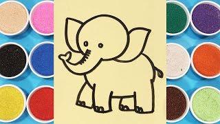 Đồ chơi trẻ em TÔ MÀU TRANH CÁT CHÚ VOI CON - Coloring elephants so kute (Chim Xinh)
