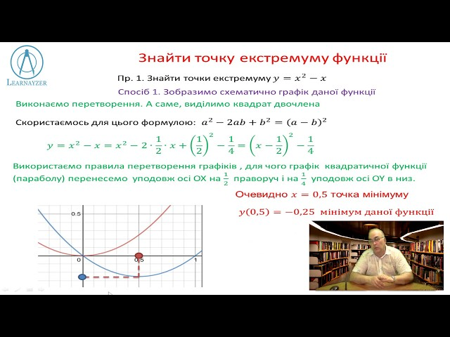 10 клас. Алгебра. Точки екстремуму функції. Найбільше, найменше значення за означенням.