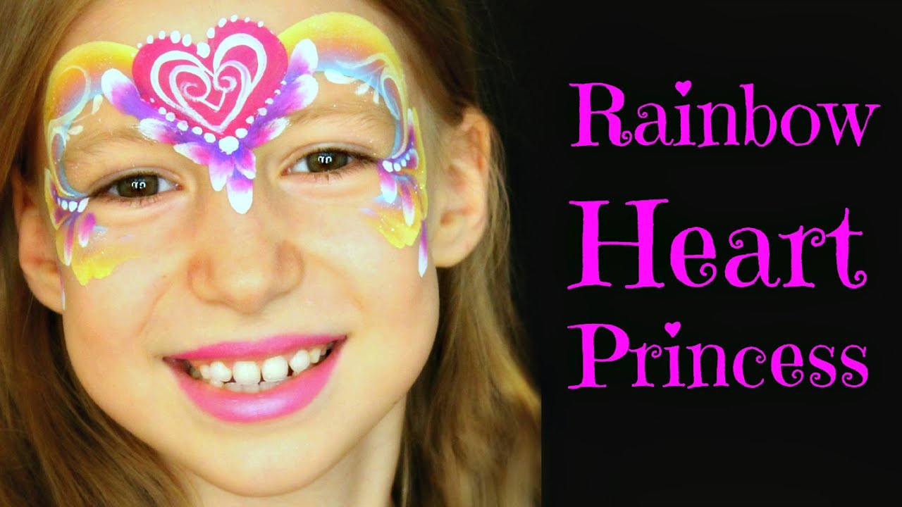 Easy Rainbow Heart Princess One Stroke Rose Face Painting Tutorial For Beginners Youtube