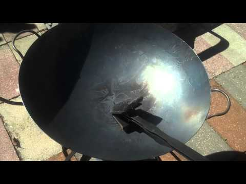 Taste of Asia @ Home   Seasoning a 22 hand hammered commercial wok!