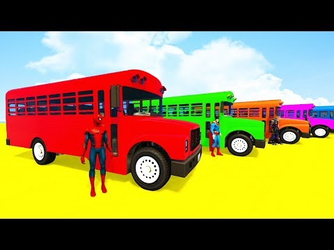 Thumbnail: LEARN COLORS for Kids BIG BUS and BMX Superheroes Cartoon for Toddlers w 3D animation