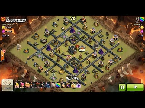 Clash of Clans TH9 vs TH9 Balloon, Golem, Wizard & Pekka (GoWiPeLoon) Clan War 3 Star Attack