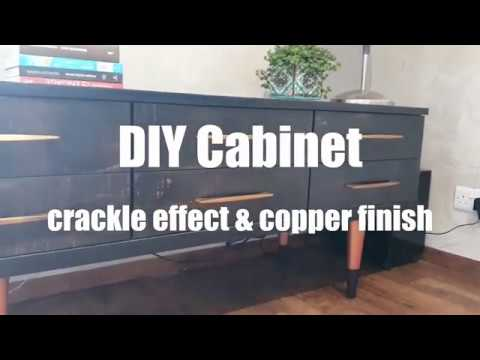 DIY Painted cabinet with crackle effect