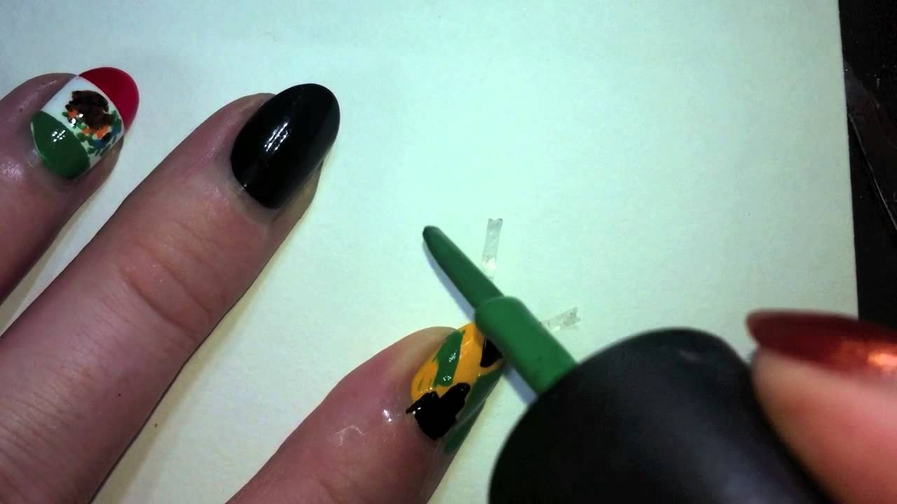 Jamaican Flag Nail Art Tutorial - YouTube