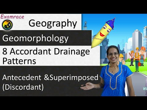 Antecedent and Superimposed (Discordant) and 8 Accordant Drainage Patterns