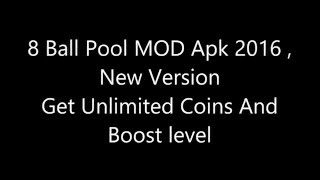 8 Ball Pool MOD Apk 2016 , Get Unlimited Coins , Boost Level | FREE |