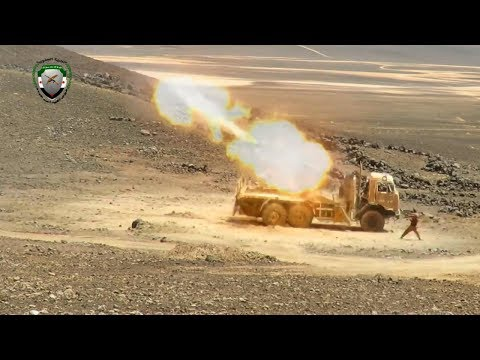 FSA hit regime & foreign militia positions in Syrian Desert with rocket launchers & heavy artillery