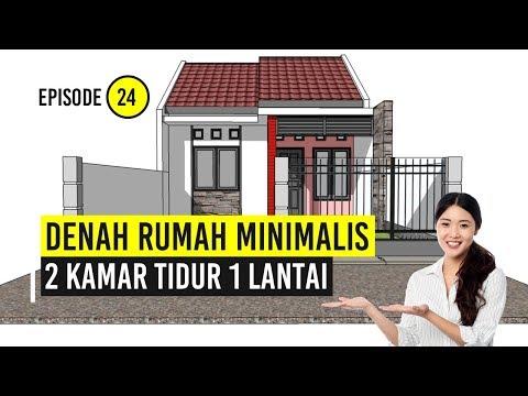 Denah Rumah Minimalis | 2 Kamar Tidur 1 Lantai