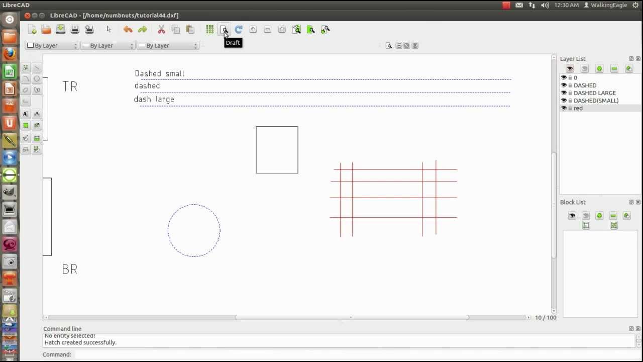 LibreCAD tutorial 10 - Select Window correction - draft mode - line snaps