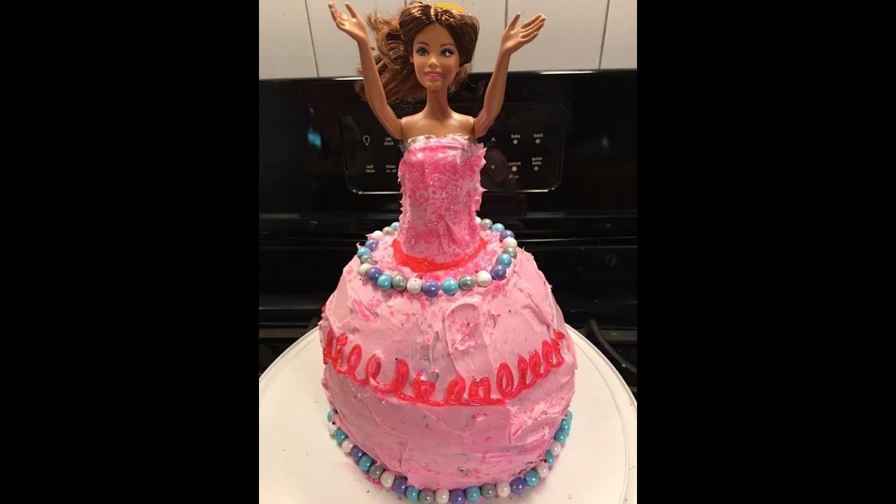 Barbie Birthday Cake Homemade Youtube