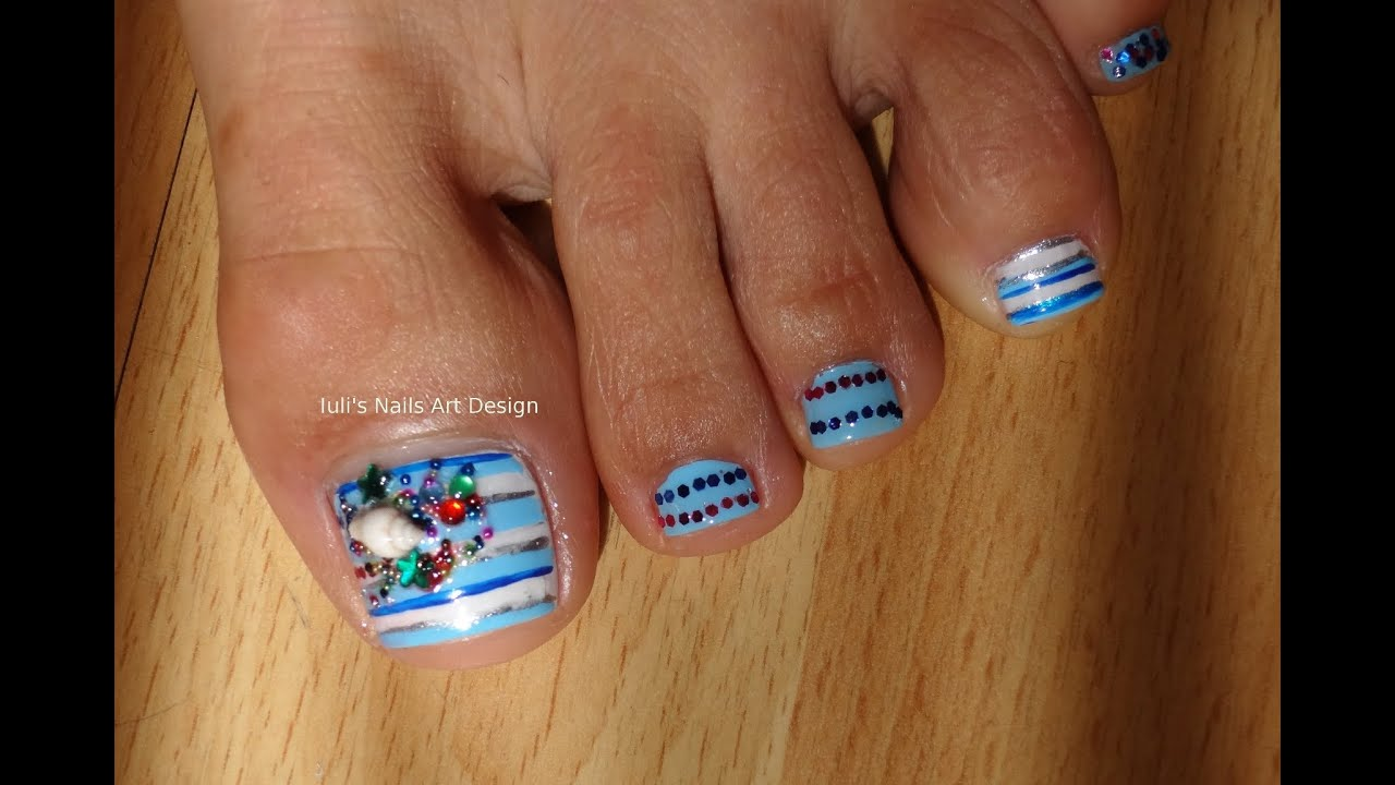 Toes Art Design Pedicure Stripes Nautical Summer Real Shell And