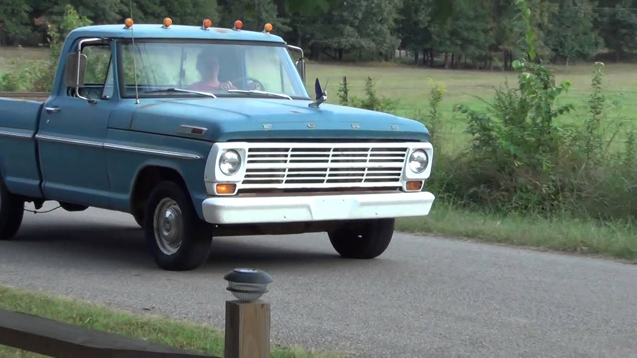 1968 ford truck blue driving 2