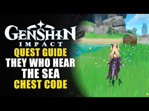 """Genshin Impact guía - 1.6 - Código correcto del cofre de la misión """"El sonido del mar""""."""