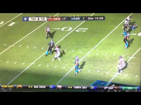 Panthers QB Cam Newton throws pick 6 interception vs the Denver Broncos in 2012 season