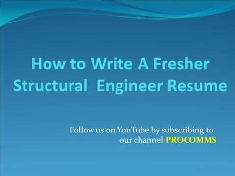 How To Write A Fresher Structural Engineer Resume | Fresher ...