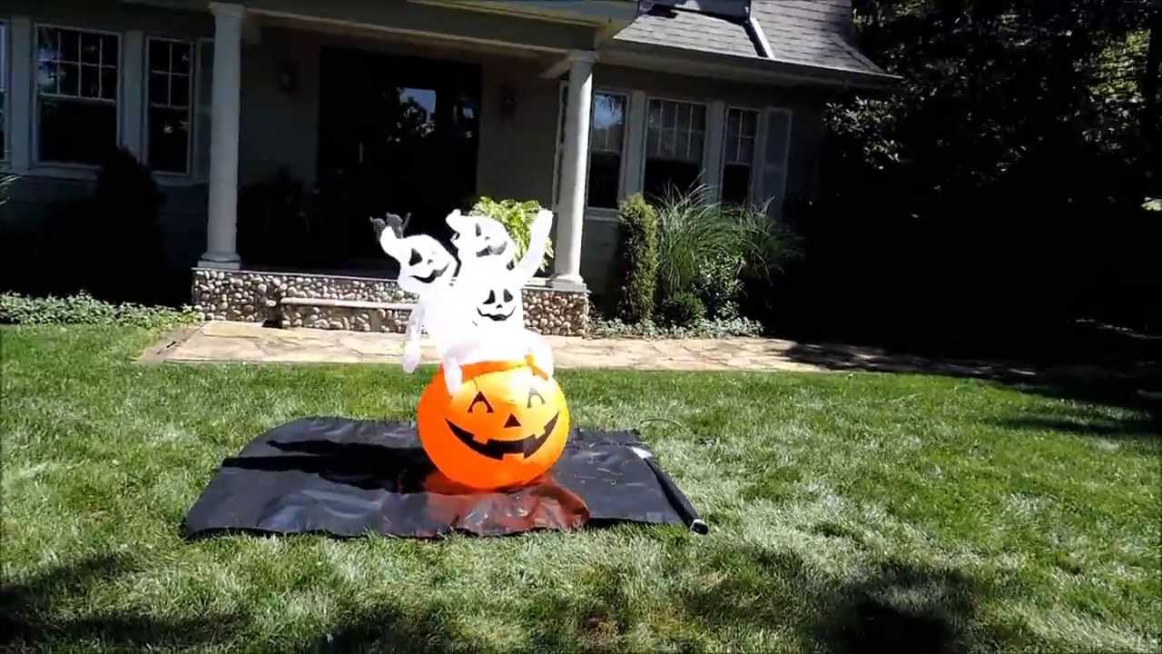 Airblown halloween inflatable pumpkin with ghosts ft