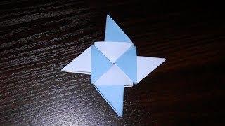 Модульное оригами звезда Ниндзя (звездочка, сюрикен из бумаги) мастер класс для начинающих