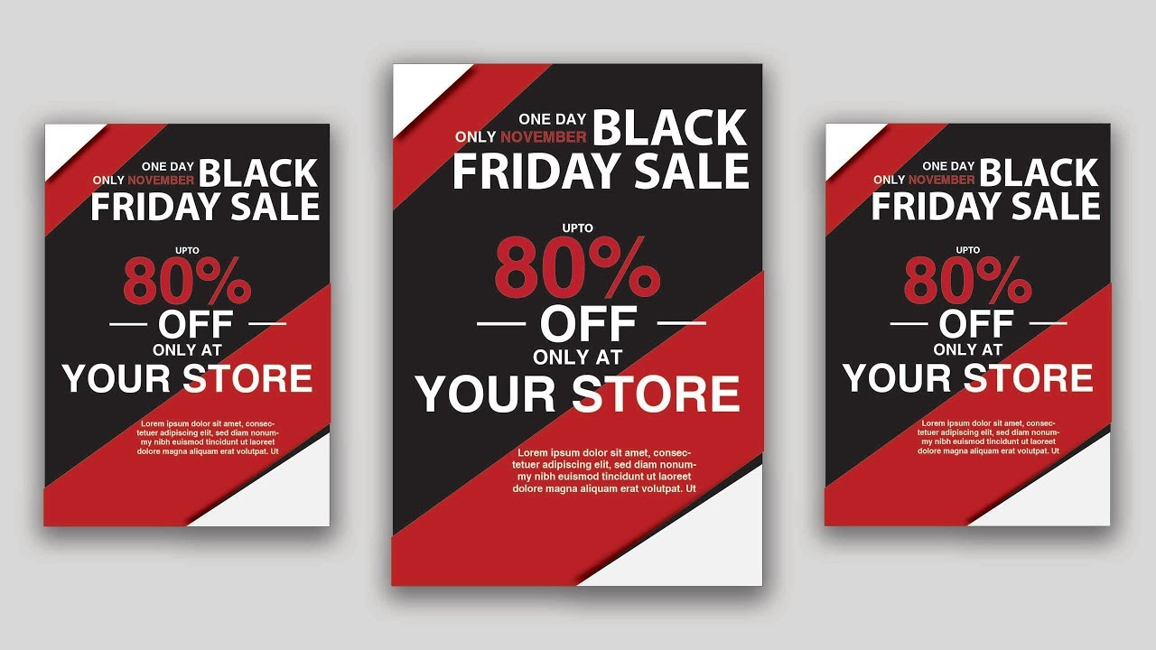 black friday sale flyer design in adobe illustrator cc 2018 bannar