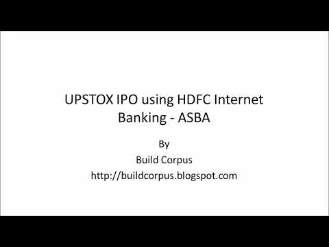 UPSTOX IPO using HDFC Internet Banking - ASBA