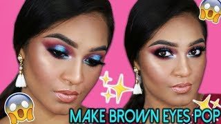 HOW TO MAKE BROWN EYES POP!!! Blue purple halo smokey eye || Sahursart