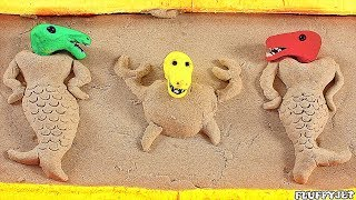 Dinosaur Sandbox Mermaid Playtime Stop Motion Playdough Cartoon video for kids