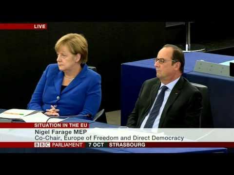 Nigel Farage attacks EU project and Angela Merkel 07 Oct 15
