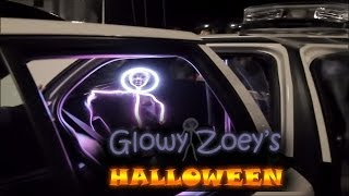 Glowy Zoey's Halloween in her LED stickman costume.