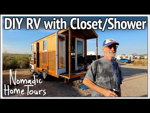 DIY RV Camper with Inovative Closet Shower Space
