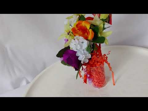 Flower Arrangement, Orange Roses And Purple Pansies