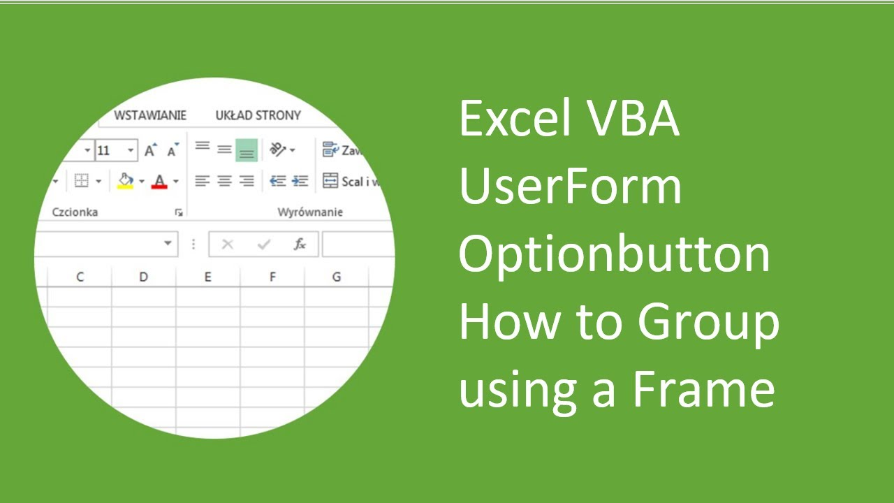 excel vba userform optionbutton how to group using a frame youtube - Excel Frames