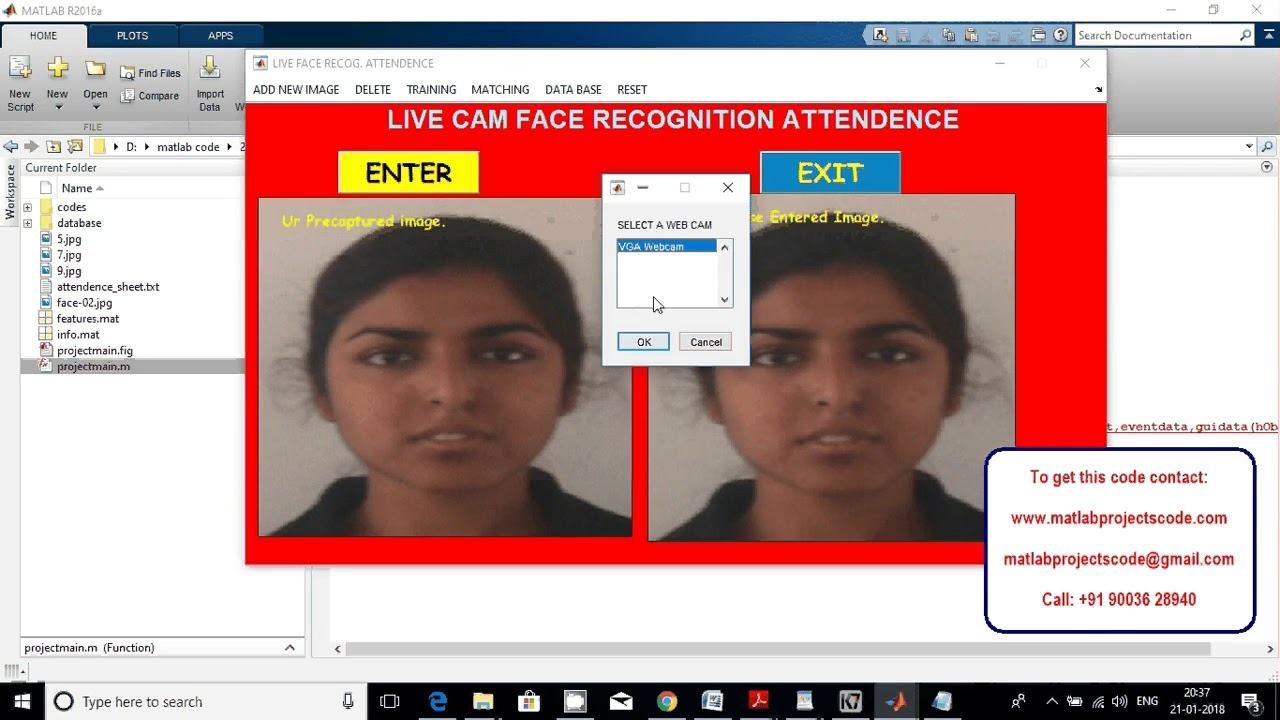 LIVE CAM FACE RECOGNITION ATTENDANCE SYSTEM matlab projects code