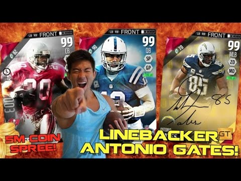 5 MILLION COINS WORTH OF NEW PLAYERS! GOLDEN TICKET ANTONIO GATES LINEBACKER CARD!? MUT 16