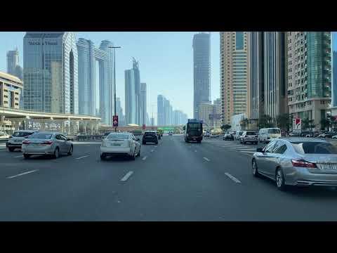 4k Dubai _ Downtown- city of Dubai _ sheikh Zayed Road-Drive in afternoon-  دبي،شارع شيخ زايد 4/2021