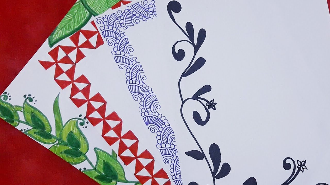 4 in 1 simple paper border designs for project