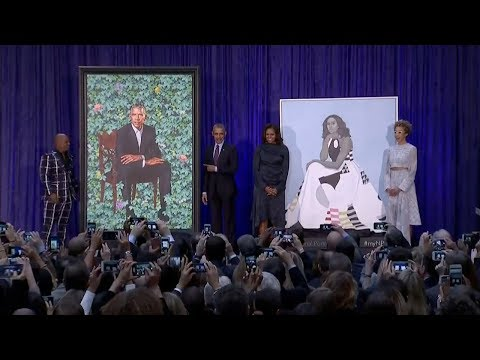 obamas'-official-portraits-unveiled-at-the-national-portrait-gallery