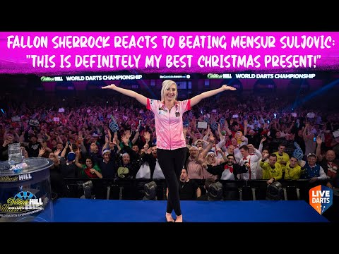 """Fallon Sherrock reacts to beating Mensur Suljovic: """"This is definitely my best Christmas present!"""""""