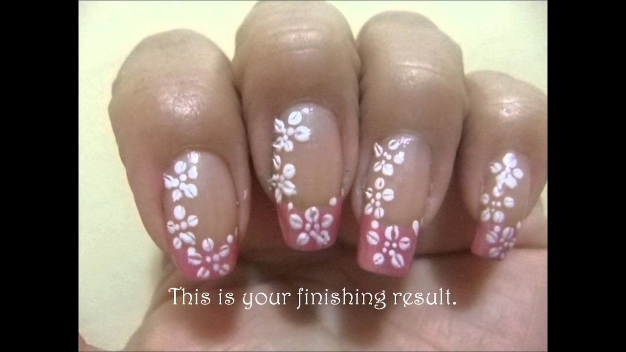 Simple Bridal Nail Art Design - YouTube