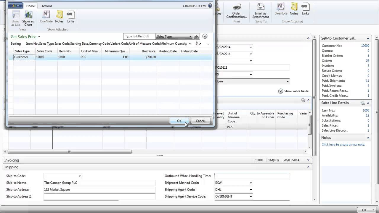 sales order processing in microsoft dynamics nav 2013