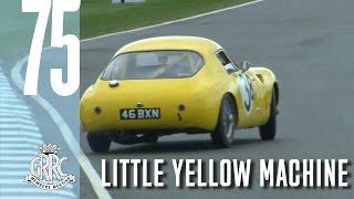 Yellow Austin Healey Sprite goes wild!