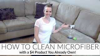 NO MORE COUCH STAINS!   HOW TO CLEAN MICROFIBER   EASY & CHEAP!   HOW I CLEAN MY MICROFIBER COUCH