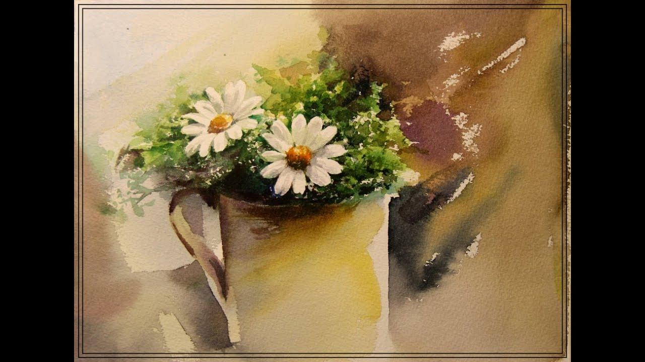 Watercolor Painting of camomile Flower 카모마일 꽃 수채화 그리기